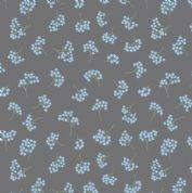 Lewis & Irene Flo's Wildflowers - 5425 - Forget-Me-Nots on Dark Grey - FLO8.1 - Cotton Fabric
